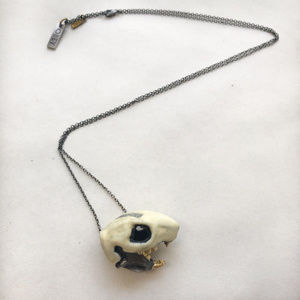 """Obey Jewelry """"Rodent Skull"""" Necklace Brush Nickel"""